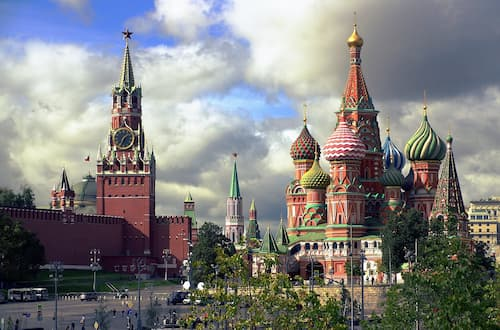 Spasskaya tower and St Basils Cathedral in the Capital Moscow